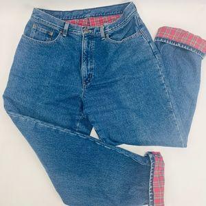 LL Bean Womens Jeans 14R Blue Vintage Plaid Fleece